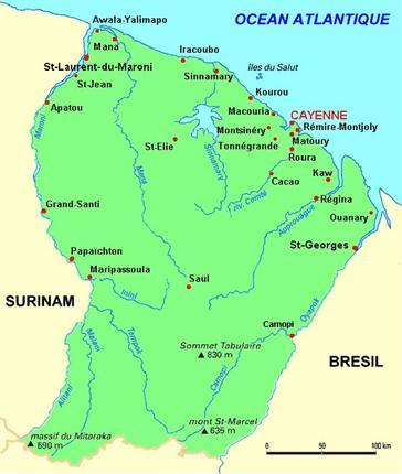 carte de la guyane française Carte d'identité   Guyane Française